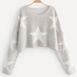 Drop Shoulder Star Pattern Crop Sweater